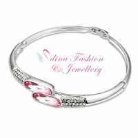 18K White Gold GP Made With Swarovski Crystal Lovely Crossover Baby Pink Bangle
