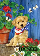 Welcome Garden Flags Cute Dog Butterfly Flowers Yard Banner Summer Outdoor Decor