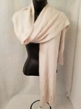 "Cejon Girls Juniors Womens Ivory Fuzzy Scarf w/ Fringes Size 76"" x 9"""