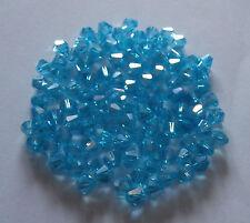 100 TUPIS de CRISTAL AB azul aguamarina 4mm
