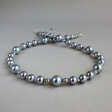 Vintage light grey pearl beaded collar choker silver wedding bridesmaid necklace