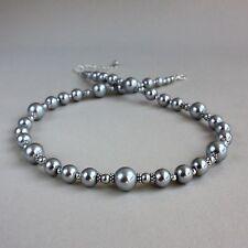 Vintage light grey pearl beaded collar choker silver wedding bridesmaid necklace