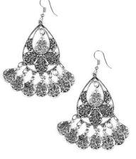 Paparazzi Earrings ~ Teardrop Tempo ~ Silver Bollywood Fringe & Ornate NEW July