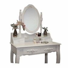 Peony White Dressing Table Set With Adjustable Oval Mirror and Stool 5 Drawers