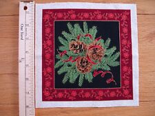 """Christmas Pinecones Ribbons   Cotton Quilt Fabric Block  7"""" x 6 3/4"""""""