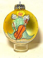 Gold Ball w Pretty Angel Playing Cello Blown Glass Christmas Ornament Hungary