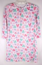 Carters Girls 8/10 Long Sleeve Hearts Nightgown