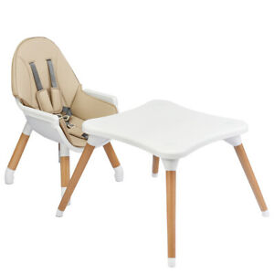 4 in 1 Baby Dining Feeding Highchair Infant Child Wooden Dining Chair Table Kids