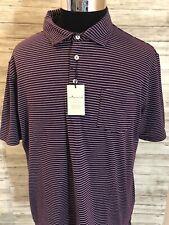 Men's New Peter Millar Seaside Wash Large Golf Polo Shirt  Striped Fig L N1