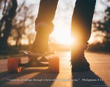Skateboarding Religious Poster Art Christian Skaters Philippians 4:13 RELG38