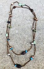 """Silpada Sterling Silver, Howlite, Jasper Wood And Shell Necklace 60"""" N1569"""