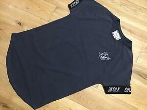Mens Sik Silk Siksilk King T Shirt Crew Neck Top Gym Tee Grey Size Small