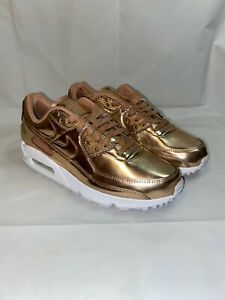 Nike Women Air Max 90 SP Metallic Shoes Rose Gold CQ6639-600