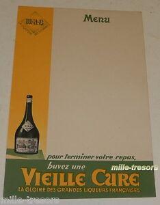 Ancien MENU VIEILLE CURE M.A.B. - La Gloire des grandes liqueurs Françaises