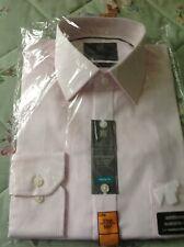 """NEW Men's Marks & Spencer Non Iron Cotton Shirt WHITE / PINK STRIPES SIZE 14.5"""""""