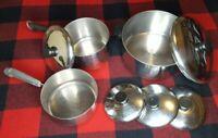 8 piece Revere Ware Copper Bottom Stock Pot 6 qt. with Lid 2 Sauce pans 4 lids
