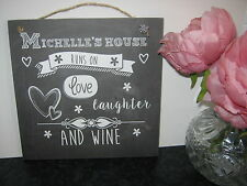 Personalised Fun Friends House Runs on Drink.. Sign Plaque, Vintage, Birthday