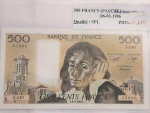 Billet 500 Francs Pascal 1986 Splendide