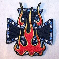 IRON CROSS FLAMES EMBRODIERED PATCH P471 chopper biker bikers novelty patches