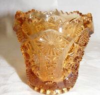 Vintage Imperial Carnival Glass Gold Toothpick Holder Hobstar Pattern