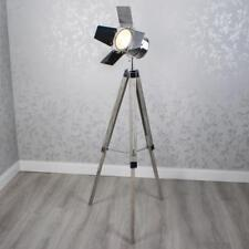 Retro Industrial Silver Metal Tripod Floor Lamp (GB149)