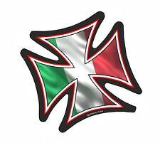 IRON CROSS & Italy Italian il Tricolore Flag Biker vinyl car Helmet Sticker 95mm