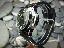 24mm NEW COW LEATHER STRAP Black Watch BAND White Stitch PANERAI PAM 24