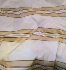 "Cream, Beige & Gold STRIPES Silk TAFFETA Fabric fat 1/4 18""x27"" remnant"