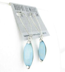 Robert Lee Morris Soho Silver Plated Sea Blue Drop Bead Earrings