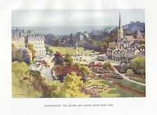 HASLEHUST VINTAGE PRINT : BOURNEMOUTH THE SQUARE AND GARDEN FROM MONT DORE