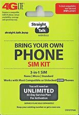 Straight Talk Micro Nano Standard Triple Cut SIM Card For T-Mobile Tower GSM