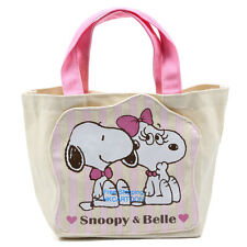 JAPAN SNOOPY & BELLE PINK SWEET CANVAS HAND BAGS/LUNCH BAG 009938