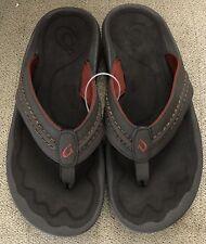 Olukai Hokua' Flip Flop Size 11 M EUR 44 Color Dark Java Faux Leather