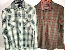 Lot of 2 - Wrangler Retro Boys Small Plaid Western Pearl Snap Flannel Shirts