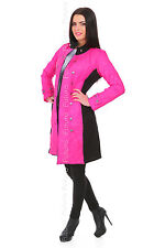 Ladies Quilted Comfy 3/4 Length Stand Up Collar Button Jacket Coat FZ85