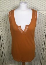 TU Tan/Yellow Embroidered NEW With Tags Deep Y-Neck Summer Vest Top 8/10/12