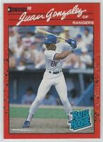 "1990 DONRUSS JUAN GONZALEZ ""REVERSE NEGATIVE-RATED ROOKIE"" RC #33 TEXAS RANGERS"