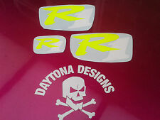 R1 DAYGLOW YELLOW & WHITE SET NOSE & CONE SEAT UNIT DECALS STICKERS