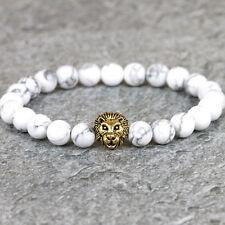 Lion Pendant Chakra Stone Prayer Bead Bracelet Yoga White Gold Healing Buddha