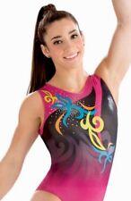 New GK ELITE Aly LEOTARD Gymnastics FESTIVE Holotek HOLOGRAM Sequin USA Sz: CL