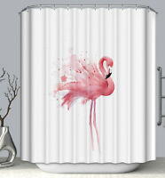 Flamingo Watercolor Fabric SHOWER CURTAIN 70x70 with Hooks Pink Tropical Bird