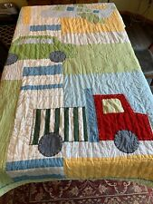 Pottery Barn Kids Cars Green Blue Multi Color Quilt Blanket 79 x 86 inches