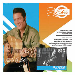 St. Vincent 2014 - Elvis Presley, Comeback Special Show - Souvenir Sheet - MNH