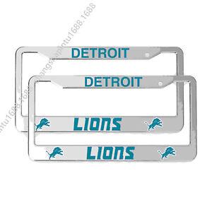 Detroit Lions 2PCS Chrome License Plate Frame Set Auto Truck Car Metal Tag Cover