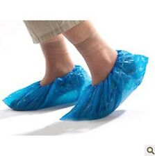 100 Pcs Plastic Disposable Shoe Covers Carpet Cleaning Overshoe Blue