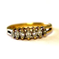 14k yellow gold .50ct diamond SI2 H marquise anniversary band ring 2.5g vintage