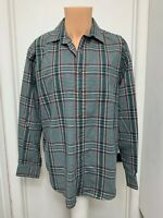 LL BEAN mens l large flannel shirt button plaid long sleeve cotton polyester