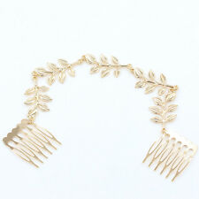 Women Fashion Gold Metal Tassel Leaf Comb Cuff Chain Jewelry Headband Hair Band