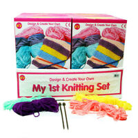 Childs Kids Girls My First 1st Plastic Knitting Childrens Craft Set Kit