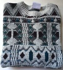 PETER JON CLOTHING ET Mens Gray/Teal/Purple Pullover Sweater Medium M